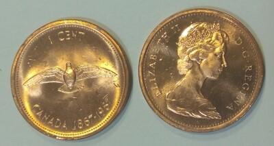 Канада. Елизавета II. 1967. 1 цент. 1867-1967. 100 лет Конфедерации Канады. Медь. 3.24 g. aUNC