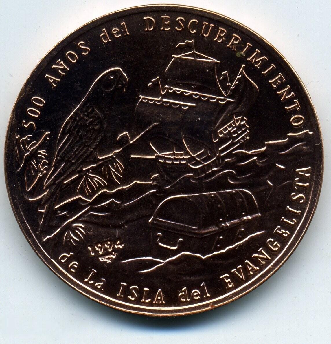 Cuba. 1994. 1 peso. Series: Discovery of Isla del Evangelista. -#1. 500th Anniversary. Parrot, ship and sea chest. Copper. KM#606. BU. aUNC
