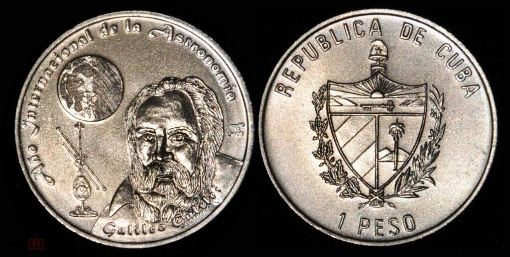 Cuba. 2009. 1 peso. Galileo. Cu-Ni. KM#. BU. aUNC