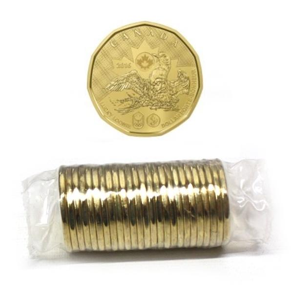 Канада. Елизавета II. 2016. 1 доллар - ролл из 25 монет. Везучий Селезень. Летние Олимпийские Игры в Рио. Ni-Cu. KM#. UNC