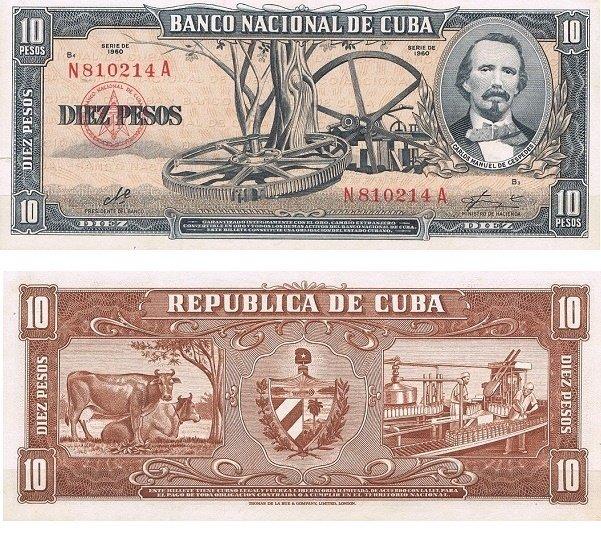Куба. Бумажные деньги. 1956. 10 песо. Карло Мануэль де Сеспедес. Тип: 1956. Серия/№: . Подпись: . Catalog #. PRESS (UNC)