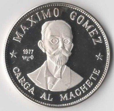 Cuba. 1977. 20 pesos. Series: Figures in the History of Cuba. -#2. Maximo Gomez. 0.925 Silver 0.7682 Oz ASW 26.0g., KM#. PROOF