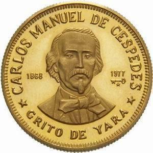 Cuba. 1977 - no date. 100 pesos. Series: Figures in the History of Cuba. -#1. Carlos Manuel de Cespedes. 0.917 Gold. 0.3515 Oz AGW 16.0g., KM#. PROOF
