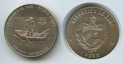 Cuba. 1982. 1 peso. Series: Ernest Hemingway -#3. The Old man and the Sea - Nobel Prize. Cu-Ni. 11.30 g. BU. KM#90. UNC