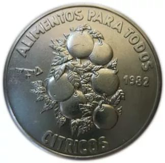 Cuba. 1982. 1 peso. Series: Food for Everybody (FAO). #2. Citrus fruit. Cu-Ni. 11.30 g. BU. KM#94. UNC