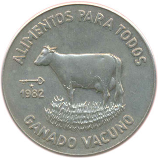 Cuba. 1982. 1 peso. Series: Food for Everybody  (FAO). #3. Dairy cattle. Cu-Ni. 11.30 g. BU. KM#95. UNC