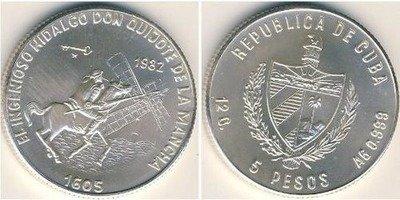 Cuba. 1982. 5 pesos. Series: Don Quijote de la Mancha - #2. Hidalgo Don Quijote on horse. 0.999 Silver. 0.3229 Oz ASW. 12.0g. BU. KM#100. UNC