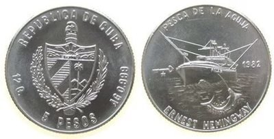 Cuba. 1982. 5 pesos. Series: Ernest Hemingway - #2.  Fishing of Marlin. 0.999 Silver. 0.3229 Oz ASW. 12.0g. BU. KM#97. UNC