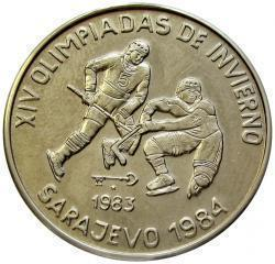 Cuba. 1983. 1 peso. Series: XXIV Winter Olympiad. Sarajevo - 1984. - #2. Two hockey players. Cu-Ni. 11.30 g. BU. KM#196. UNC. Mintage: 3,000