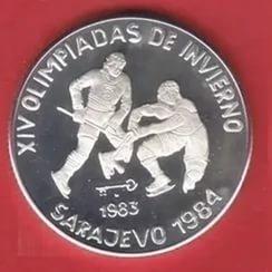Cuba. 1983. 5 pesos. Series: XIV Winter Olympics. Sarajevo 1984 - #2. Hockey. 0.999 Silver. 0.3229 Oz ASW. 12.0g. KM#108. PROOF