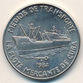Cuba. 1984. 1 peso. Series: Means of Transport. - #2. Frieghter. Cu-Ni. 11.30 g. BU. KM#116. UNC