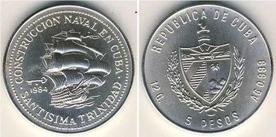 Cuba. 1984. 5 pesos. Series: Shipbuilding in Cuba - #1. Santísima Trinidad. 0.999 Silver. 0.3229 Oz ASW. 12.0g. BU. KM#119. UNC