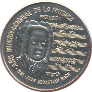 Cuba. 1985. 1 peso. Series: International Year of Music - #1. Bach. Cu-Ni. 11.30 g. BU. KM#120. UNC. Mintage: 2,000