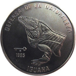 Cuba. 1985. 1 peso. Series: Defense of Nature. - #2. Cuban rock iguana. Cu-Ni. 11.30 g. BU. KM#126. UNC