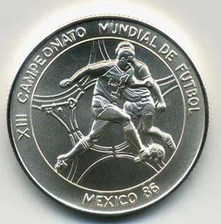 Cuba. 1985. 5 pesos. Series: 13th Soccer World Cup - Mexico '86. - #1. Two soccer players. 0.999 Silver. 0.3229 Oz ASW. 12.0g. BU. KM#123. UNC