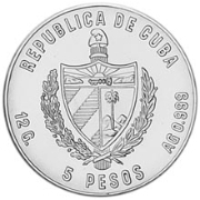 Cuba. 1985. 5 pesos. Series: 13th Soccer World Cup - Mexico '86. - #1. Two soccer players. 0.999 Silver. 0.3229 Oz ASW. 12.0g. KM#123. PROOF. RARE