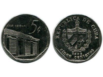 Cuba. 1999. 5 centavos CUC. Casa Colonial. Type: 1994. Nickel Plated Steel. 2.990 g., KM#575.2. AU