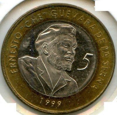Cuba. 1999. 5 pesos CUC. Ernesto Che Guevara. Type: 1999. Bi-Metallic (Ni-Steel + Brass - Steel) 4.520 g. KM#730. UNC