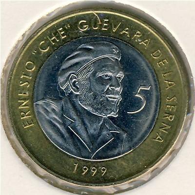Cuba. 1999. 5 pesos. Che Guevara. Type: 1999. Bi-Metallic (Ni-Steel + Brass - Steel) 4.520g., BU. KM#730. XF