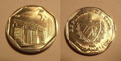 Cuba. 2009. 5 centavos CUC. Casa Colonial. Type: 1994. Nickel Plated Steel. 2.990 g., KM#575.2. AU