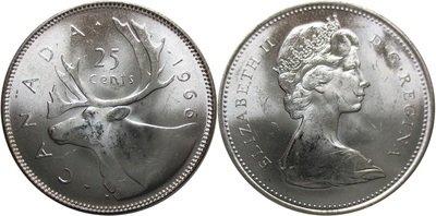 Канада. Елизавета II. 1966. 25 центов. Карибу. Тип: 1965. 0.800 Серебро, 0.149 Oz. ASW., 5.830 g., KM#62. AU