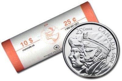 Канада. Елизавета II. 2005. 25 центов - ролл из 40 монет. Год ветеранов.