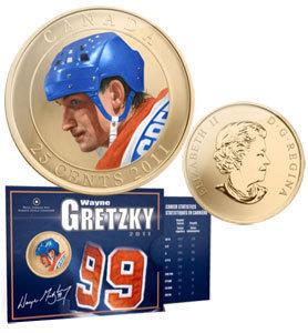 Канада. Елизавета II. 2011. 25 центов. Звёзды хоккея: Уэйн Гретцки. Цветные. Cu-Ni 12.610 g., KM#. UNC