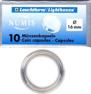 Капсулы для монет 16.00 мм. 1 * 10 шт. Lighthaus / Leuchtturm.