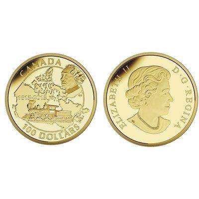 Канада. Елизавета II. 2015. 100 долларов. 1815-2015. 200 лет со дня рождения Дона А.Макдональда. 0.585 Золото 0.42 Oz., AGW., 12.00 g., PROOF PF60.