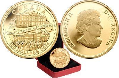 Канада. Елизавета II. 2014. 100 долларов. 1864-2014. 150 лет Квебек и Шарлоттаун. 0.585 Золото 0.42 Oz., AGW., 12.00 g., PROOF PF60.