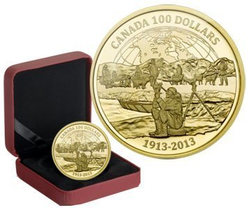 Канада. Елизавета II. 2013. 100 долларов. 1913-2013. 100 лет Первой Канадской Арктической Экспедиции. 0.585 Золото 0.42 Oz., AGW., 12.00 g., PROOF PF60.