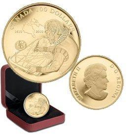 Канада. Елизавета II. 2010. 100 долларов. 1610-2010. 400 лет открытие пролива Гудзон. 0.585 Золото 0.42 Oz., AGW., 12.00 g., PROOF PF60.