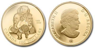 Канада. Елизавета II. 2009. 100 долларов. 1999-2009. 10 лет Нунавут -