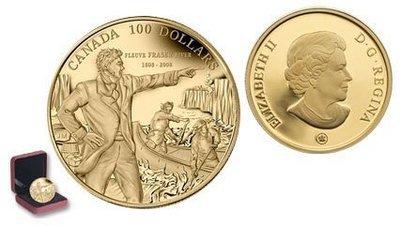 Канада. Елизавета II. 2008. 100 долларов. 1808-2008. 200 лет спуска по реке Фрейзер, Саймоном Фрейзерем. 0.585 Золото 0.42 Oz., AGW., 12.00 g., PROOF PF60.