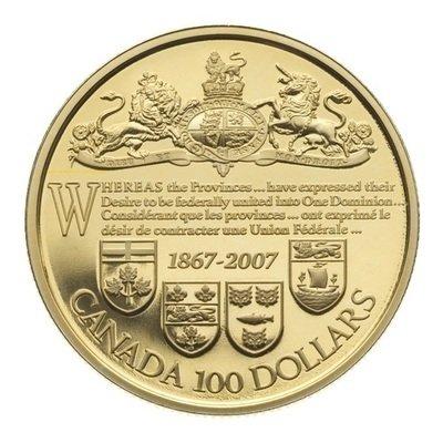 Канада. Елизавета II. 2007. 100 долларов. 1867-2007. 140 лет подписания акта о доминионе Канады. 0.585 Золото 0.42 Oz., AGW., 12.00 g., PROOF PF60.