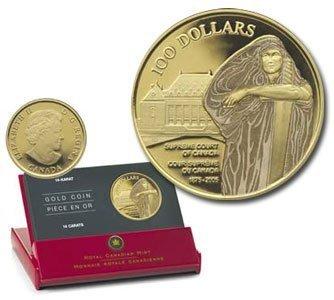Канада. Елизавета II. 2005. 100 долларов. 1865-2005. 140 лет Верховному суду Канады. 0.585 Золото 0.42 Oz., AGW., 12.00 g., PROOF PF60.
