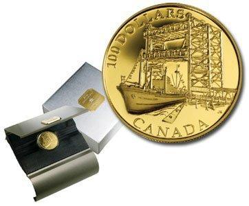 Канада. Елизавета II. 2004. 100 долларов. 1954-2004. 50 лет со дня строительства шлюза Святой Лоуренс. 0.585 Золото 0.42 Oz., AGW., 12.00 g., PROOF PF60.