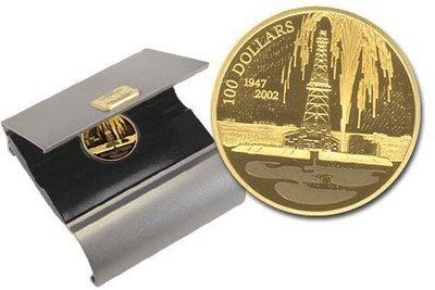 Канада. Елизавета II. 2002. 100 долларов. 1947-2002. 55 лет нефтяной промышленности Канады. 0.585 Золото 0.470 Oz., AGW.,  13.338 g., PROOF PF60.