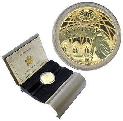 Канада. Елизавета II. 2001. 100 долларов. 1876-2001. 125 лет Библиотеки Парламента. 0.585 Золото 0.470 Oz., AGW.,  13.338 g., PROOF PF60.