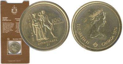 Канада. Елизавета II. 1976. 100 долларов. XXI Летние Олимпийские Игры в Монреале - Канада. #01. 0.585 Золото 0.470 Oz., AGW.,  13.338 g., PROOF PF60.
