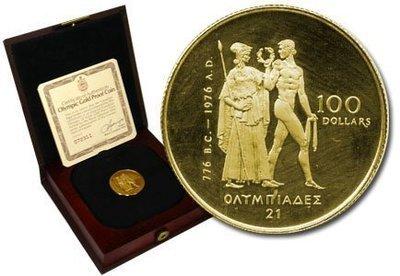 Канада. Елизавета II. 1976. 100 долларов. XXI Летние Олимпийские Игры в Монреале - Канада. #01b. 0.91667 Золото 0.6 Oz., AGW.,  16.965 g., PROOF PF60.