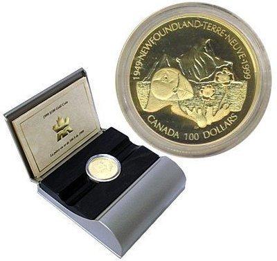 Канада. Елизавета II. 1999. 100 долларов. 1949-1999. 50 лет со дня вступления Ньюфаундленд в Конфедерацию Канады. 0.585 Золото 0.470 Oz., AGW.,  13.338 g., PROOF PF60.