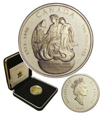 Канада. Елизавета II. 1998. 100 долларов. 1923-1998. 75 лет Нобелевской Премии за открытие инсулина. 0.585 Золото 0.470 Oz., AGW.,  13.338 g., PROOF PF60.