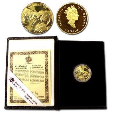 Канада. Елизавета II. 1996. 100 долларов. 1896-1996. 100 лет золотому прииску на Клондайке. 0.583 Золото 0.470 Oz., AGW.,  13.338 g., PROOF PF60.