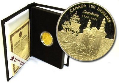 Канада. Елизавета II. 1995. 100 долларов. 1720-1995. 275 лет со дня основания Луисбурга. 0.583 Золото 0.470 Oz., AGW.,  13.338 g., PROOF PF60.