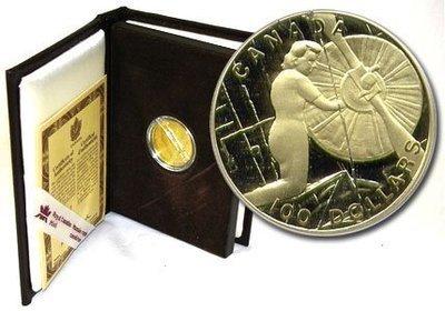 Канада. Елизавета II. 1994. 100 долларов. Тыл. 0.583 Золото 0.470 Oz., AGW.,  13.338 g., PROOF PF60.