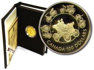 Канада. Елизавета II. 1993. 100 долларов. Безлошадный экипаж. 0.583 Золото 0.470 Oz., AGW.,  13.338 g., PROOF PF60.