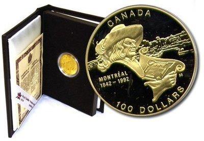 Канада. Елизавета II. 1992. 100 долларов. 1642-1992. 350 лет со дня основания Монреаль. 0.583 Золото 0.470 Oz., AGW.,  13.338 g., PROOF PF60.