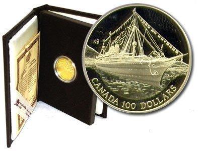 Канада. Елизавета II. 1991. 100 долларов. Корабль Императрица Индии. 0.583 Золото 0.470 Oz., AGW.,  13.338 g., PROOF PF60.