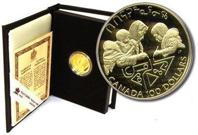 Канада. Елизавета II. 1990. 100 долларов. Международный год грамотности. 0.583 Золото 0.470 Oz., AGW.,  13.338 g., PROOF PF60.